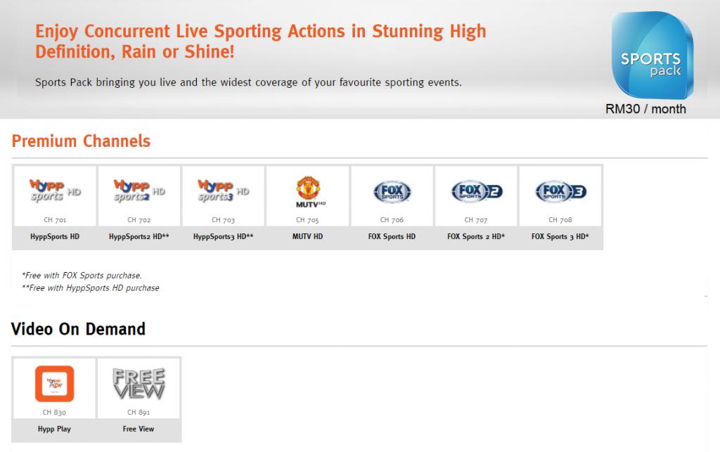 unifi TV sports pack channels