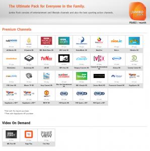 unifi TV jumbo pack channels